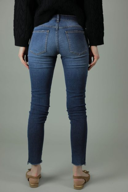 With 98% cotton and 2% elastane the Meghan Lisbon Jeans are comfortable and durable for year round wear. These jeans are skinny leg, superstretchy denim with frayed effect to rock any look. Back view.
