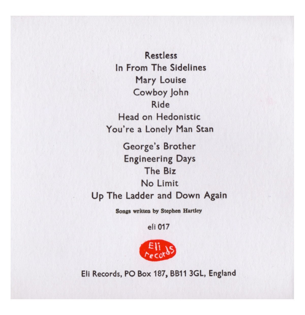 The Vincent Black Lightning - Songs From The Underbelly Part 1 Back Sleeve - From Eli Records