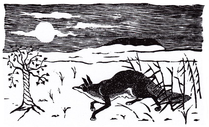 Fox woodblock
