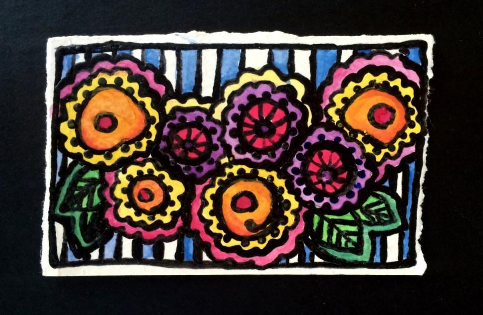 Wax Paint and Watercolor Garden