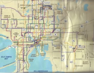 This is a transit guide map from the late 1990s. Route 46 once ran between the Port of Tampa and Davis Island. Scan by Orion 2003.