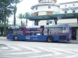 """Unknown 2005-series bus featuring HART's """"Next Stop"""" ad wrap. Photo taken by HARTride 2012. December, 2010."""