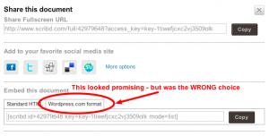 Scribd wordpress option
