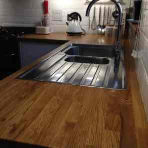 Oak worktop sink close up