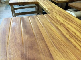 Iroko Wide Stave with Drainage Grooves