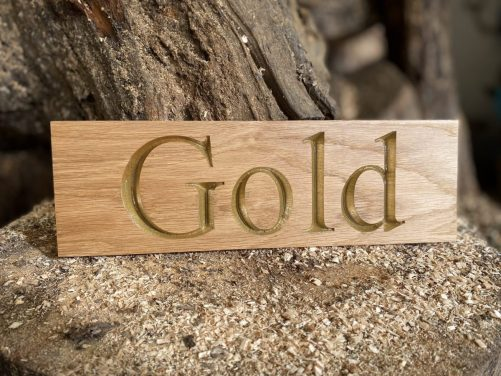 Gold painted text