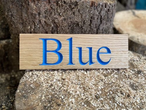 Blue painted text