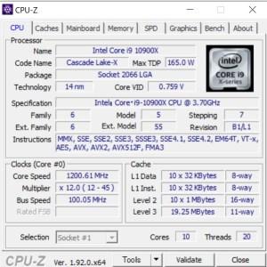 DAIV X7,Core i9-10900X,性能,CPUZ