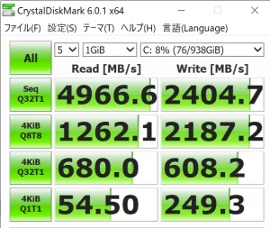 msi,Prestige 14,レビュー,SSD,転送速度,実測値