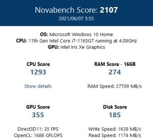 ASUS,ZenBook13,OLED,UX325,レビュー,ブログ,評価,感想,ベンチマーク,novabench,総合