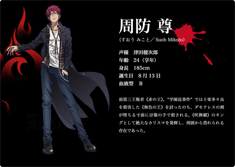 K 2nd Season Visuals and Additional Cast Revealed Main Cast Character Design mikoto suoh