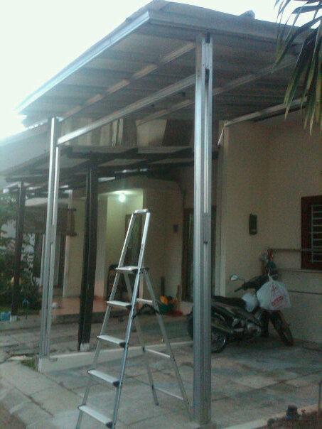 rangka atap baja ringan untuk teras canopi harumantruss