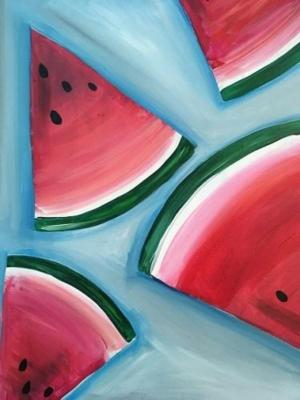 acrylic painting fruit paint beginners easy paintings canvas watermelon nite things simple watercolor beginner acrylics summer step water drawing painters
