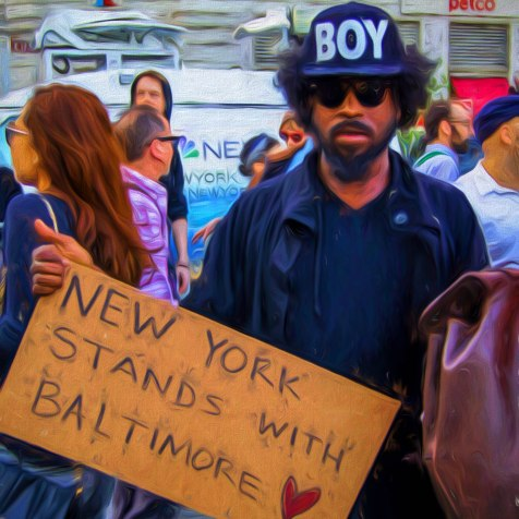 Union Square NYC Protest for Baltimore April 29, 2015Digital image. Post-process editing. Photo by LaShawnda Jones