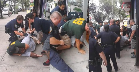 Police officers take Eric Garner down in front of a convenience store on July 17, 2014. He was choked and remained unresponsive after the police officers got off of him. He was pronounced dead shortly after. He was suspected of selling single cigarettes.