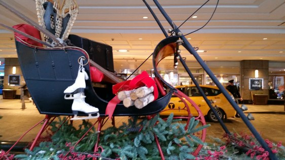 Sleigh in front of the Hilton