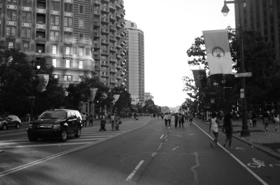 Benjamin Franklin Parkway which is lined with flags from around the world. Philadelphia, PA, July 2014