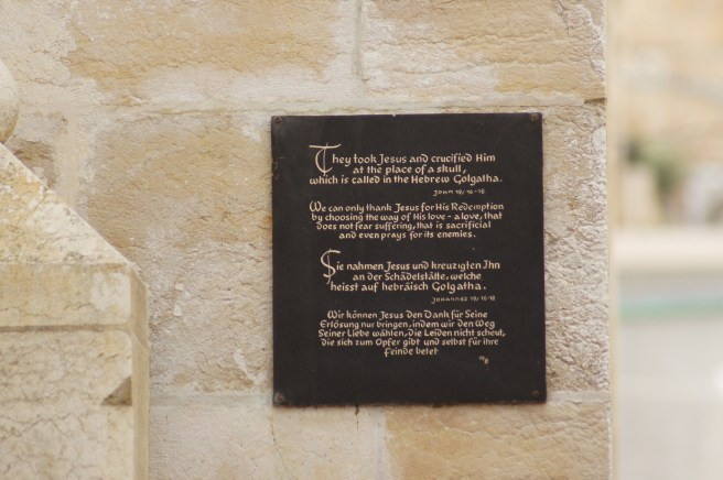 Plaque at the Tomb of Jesus, Jerusalem (2012)