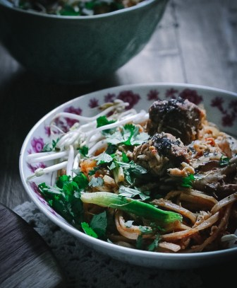 Malaysian Noodles with Sausage and Crab