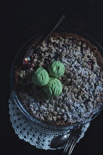 Strawberry & Pistachio Crumble Pie