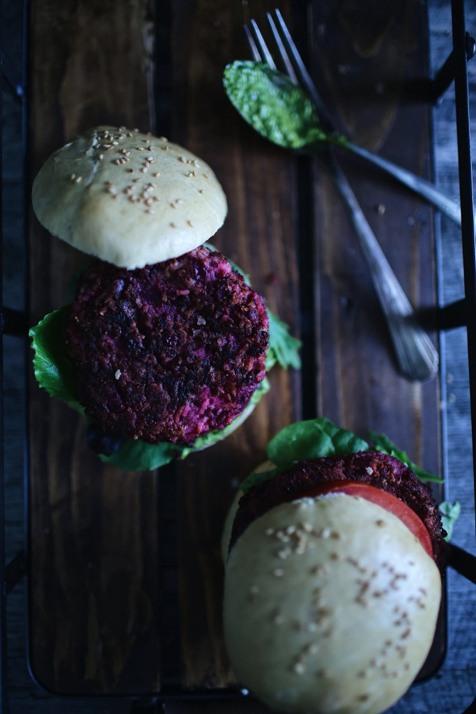 The Red Earth Burger (marinated beet burger)