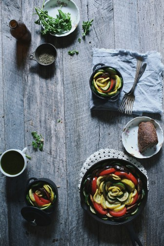 summer squash vegetable tian with chermoula