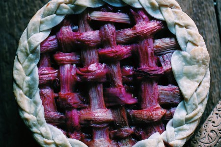 Berry Pie with Rhubarb Lattice Crust