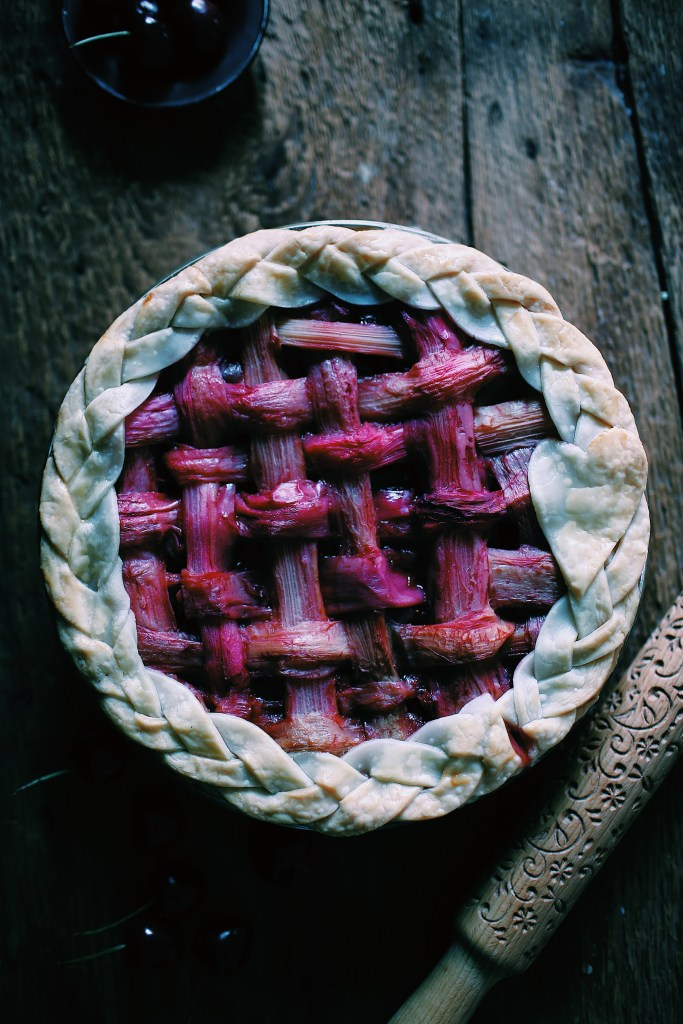 Berry Pie with Rhubarb Lattice Crust