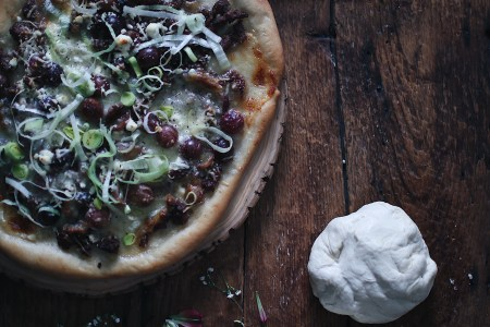Roasted Grape & Sausage Flatbread Pizza