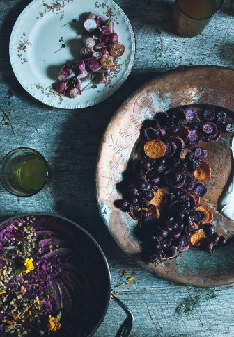 Roasted Sweet Potatoes & Grapes with Vanilla Bean Creme Fraiche
