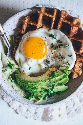 FEEDback Book Recipe: Savory Cheddar and Chive Oatmeal Waffle Bowls