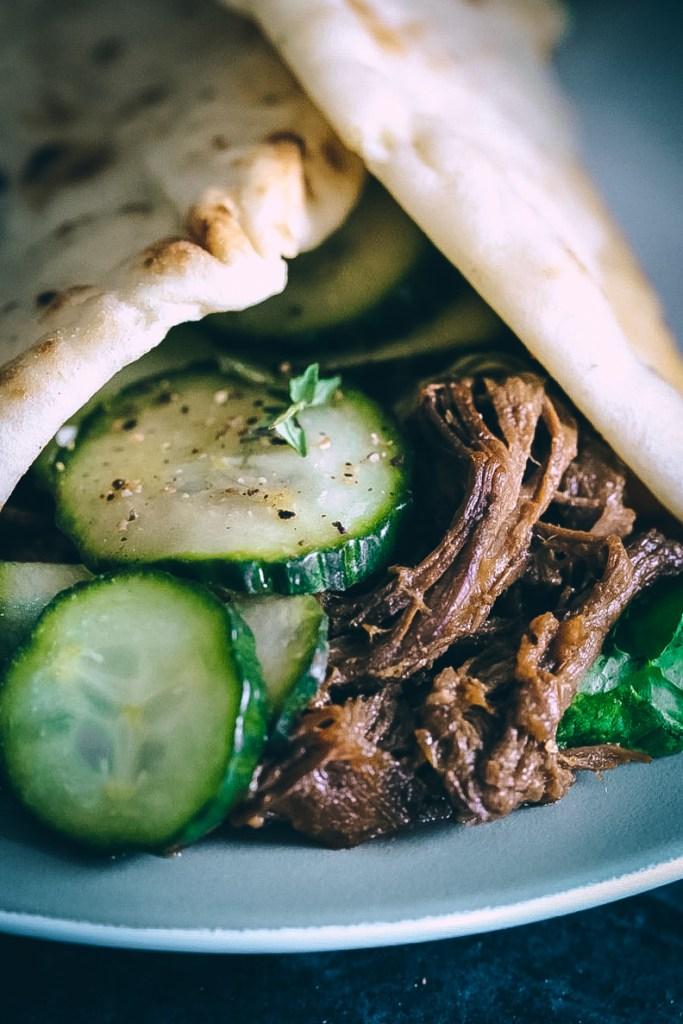 Sticky Mandarin Beef-Stuffed Flatbreads with Sriracha Pickles