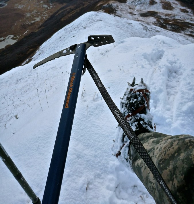 My crampons and ice axe proved to be one of the most critical pieces of gear for the hunt.