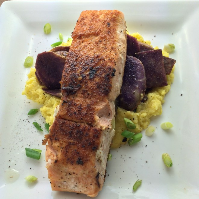 Blackened Coho Salmon with Purple Sweet Potatoes and Yellow Cauliflower Puree