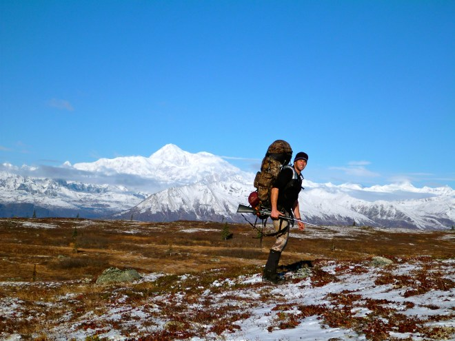 Load of bear being packed out solo from the Talkeetna Mountain Range, AK.