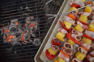 Putting Goose Kabobs on the grill