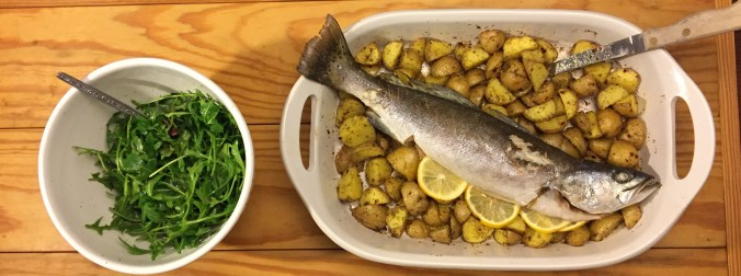 Baked Speckled Trout and Potatoes