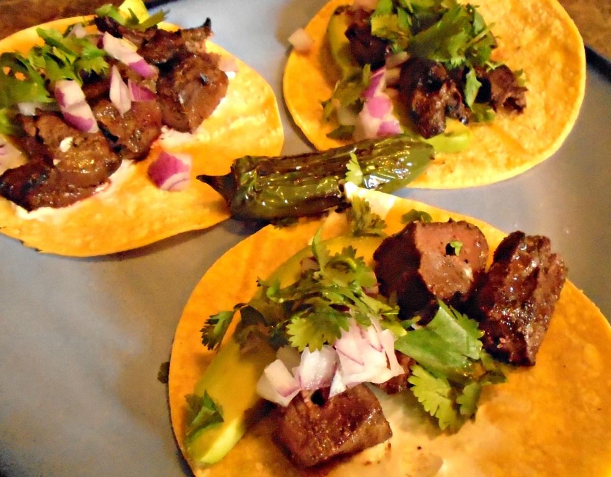 Grilled Venison Heart Tacos