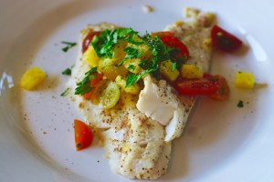 Broiled Walleye with a Pineapple Mustard Rub