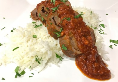 Chorizo Stuffed Ram Heart with Chipotle Sauce