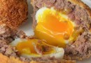American Venison Scotch Eggs with Pickled Mustard Seeds
