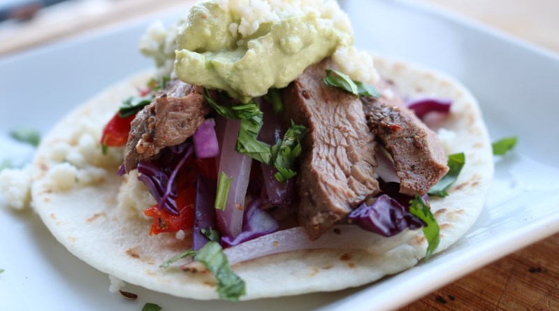 Grilled Antelope Tacos with Avocado Cream Sauce