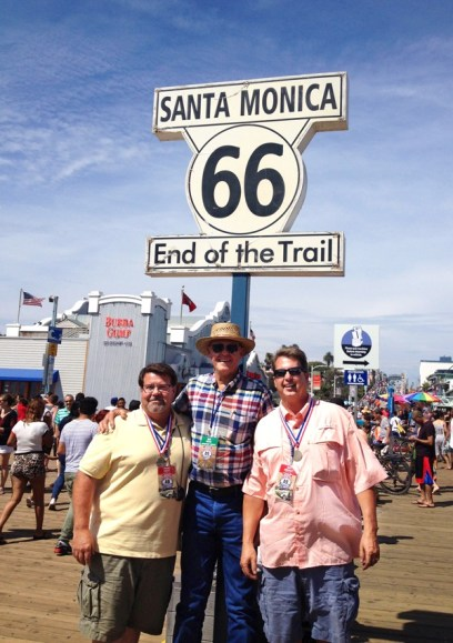 The Santa Monica wharf was the end of the 2015 Great Race that started in Missouri and followed Route 66. Haven?s Ron Boese, middle, was the chief mechanic of the 1936 Packard that made the race. The car is owned by Jeff Breault, right, and the trip navigator was Mark Keeny. The Packard finished 10th out of 125 vehicles that made the trip. Photo courtesy Ron Boese.