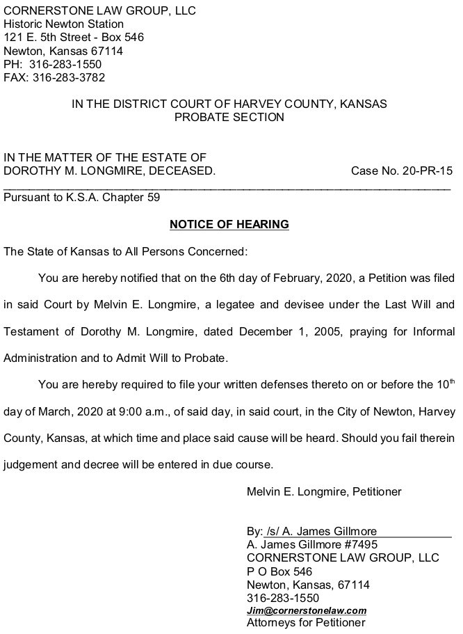 Harvey County - Longmire - Notice of Hearing - Case No. 20-PR-15