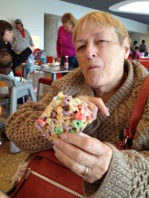 Mom enjoying a treat at the Perot Museum