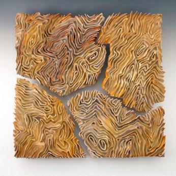 """Sara Ransford, """"Chance Meeting""""20"""" x 20"""" x 3""""Soda-fired porcelain paper clay2017"""