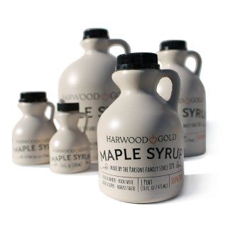 Harwood Gold maple syrup in plastic bottles