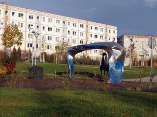 Bild: Das Denkmal Hunt, Stolln und Grubenpferd in der Lutherstadt Eisleben.