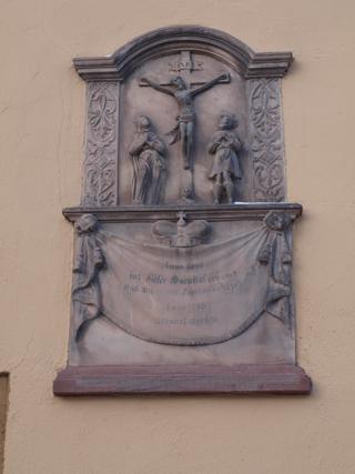 Bild: Inschrift am St. Georgenhospital zu Mansfeld.