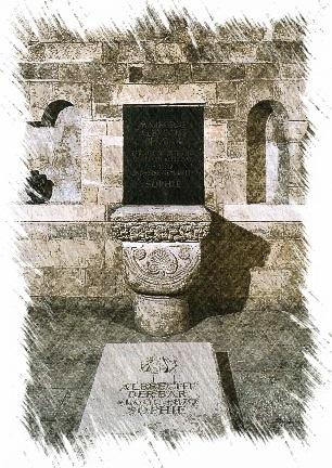 Bild: Grabmahl Albrechts des Bären im Schloss zu Ballenstedt. Das Grabmahl wurde 1938 durch den Architekten Paul Schulze-Naumburg umgebaut. Markgraf Albrecht galt als Vorreiter der Ostpolitik des Tausendjährigen Reiches.